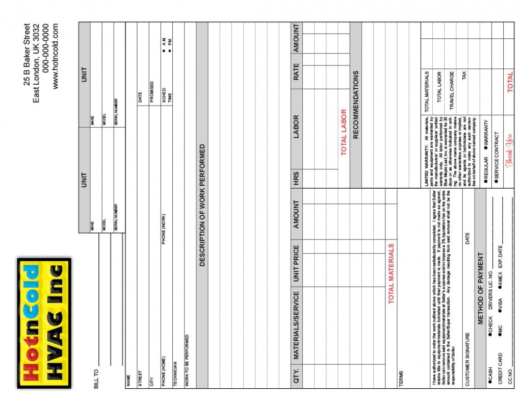 heating air invoice form samples wilson printing
