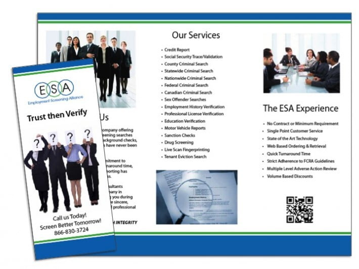 Employment screening brochure sample wilson printing usa for Career brochure template