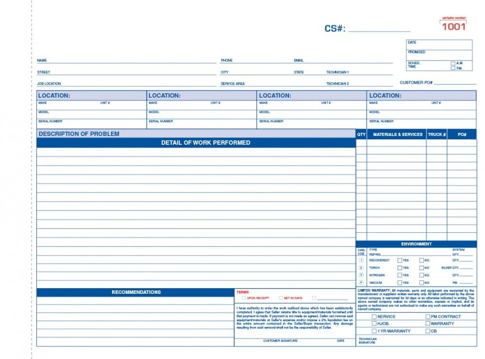 General Contractor Invoice Form Samples - Wilson Printing Usa