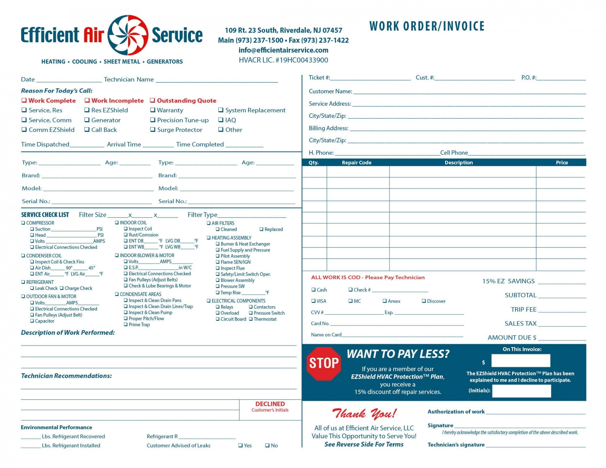 heating air invoice form samples wilson printing usa