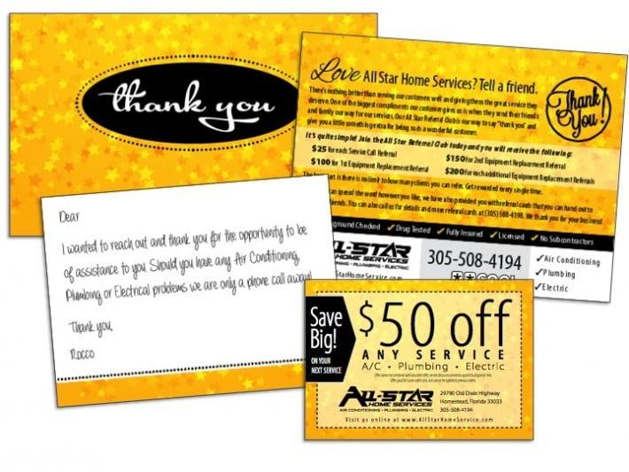 hvac thank you card sample wilson printing usa