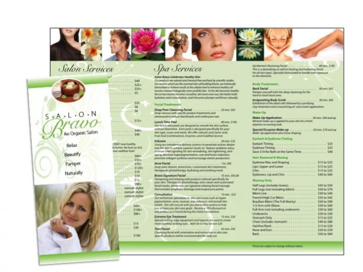 Hair Salon Brochure Sample  Wilson Printing Usa  Wilson Printing Usa