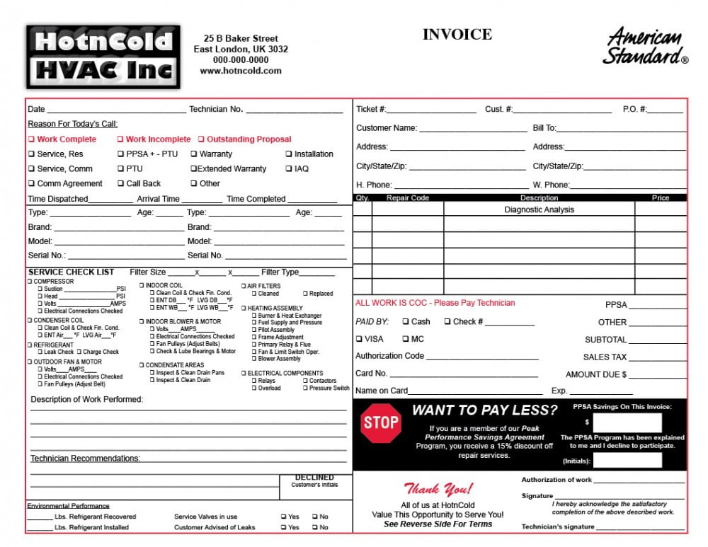 Heating  Air Invoice Form Samples  Wilson Printing  Wilson